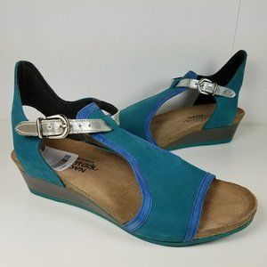 Naot Fiona Women's Teal Blue wedge sandals
